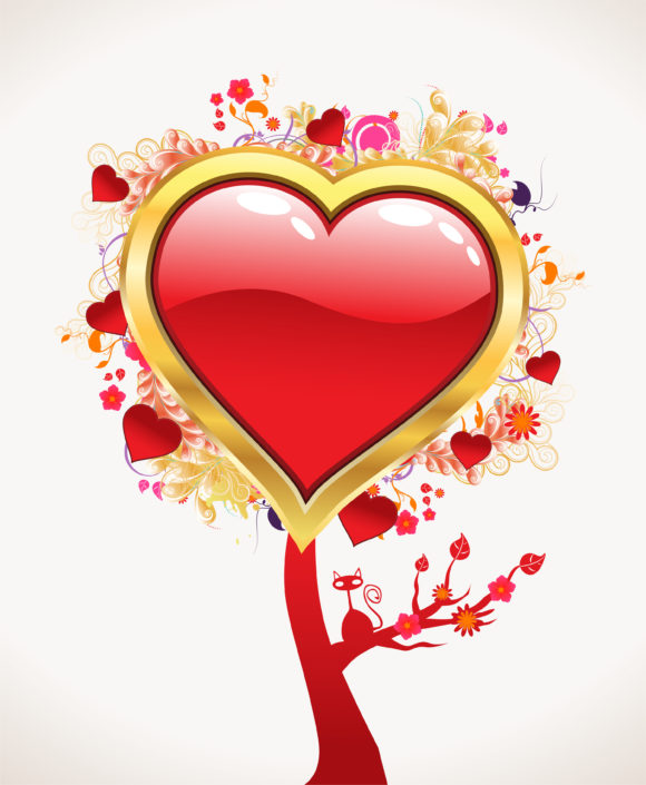 Vector Valentines Background With Abstract Tree 22 12 2010 54