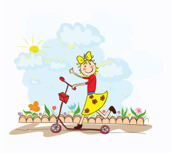 Illustration, Girl, Vector, Background Vector Design Cartoon Background With Little Girl Vector Illustration 1