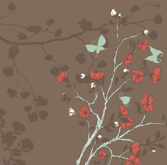 Floral Vector Illustration Vector Butterflies With Floral 1