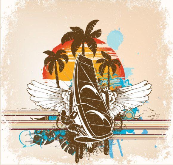 New Background Vector Art: Grunge Summer Background Vector Art Illustration 1