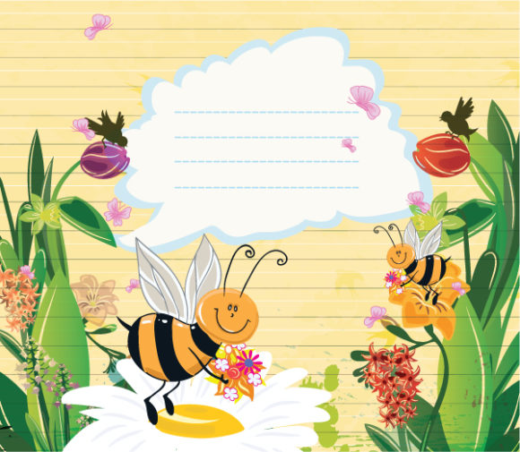 Special Vector Vector Illustration: Bees With Floral Vector Illustration Illustration 1