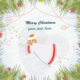 Vector Christmas Background With Angel Vector Illustrations vector