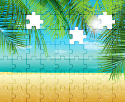 Vector Puzzle Summer Illustration Vector Illustrations palm