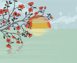 Vector Cherry Branch With Background Vector Illustrations sea