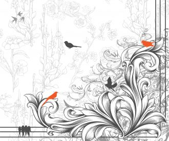 Vector Engraved Floral Corner With Birds Vector Illustrations old