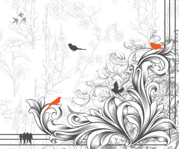 Smashing With Vector Design: Vector Design Engraved Floral Corner With Birds 5