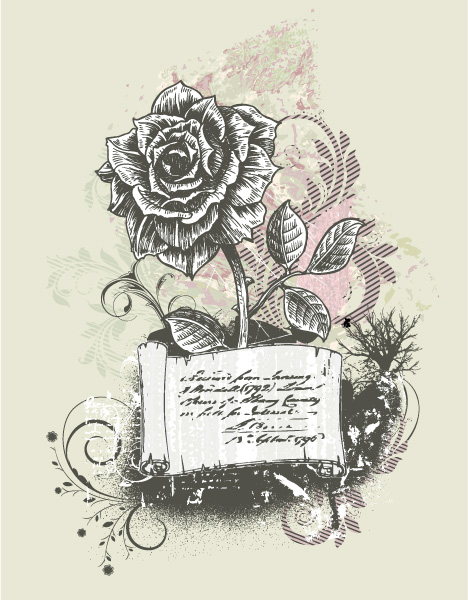 Smashing Rose Vector Image: Vector Image Vintage Background With Rose 1