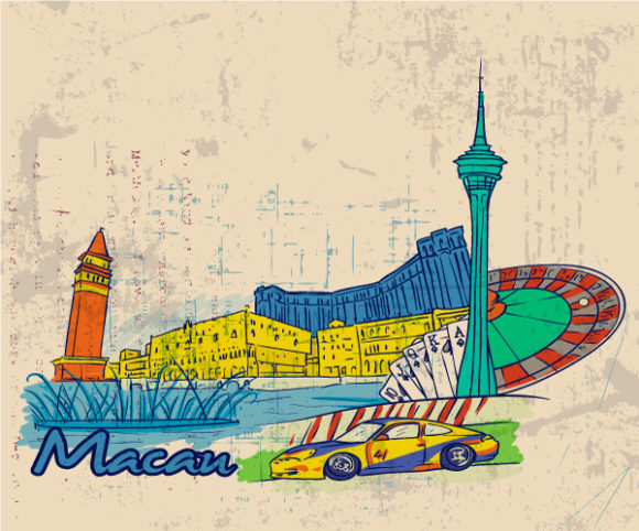 Lovely Background Vector Background: Macau Doodles With Grunge Background Vector Background Illustration 23 05 2011 70