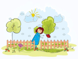 Little Girl With Trees Vector Illustration Vector Illustrations tree