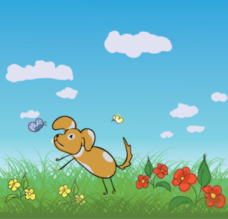 Cute Dog With Flowers Vector Illustration Vector Illustrations floral
