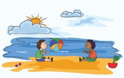 Cartoon Summer Background Vector Illustration Vector Illustrations sea