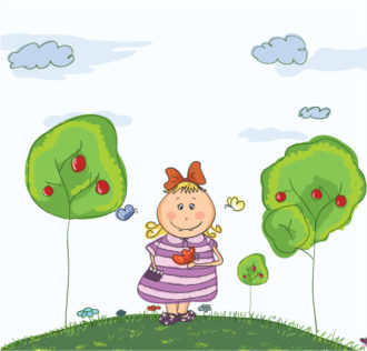 Little Girl With Butterfly Vector Illustration Vector Illustrations tree