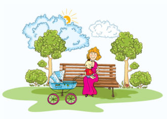 Mom With Baby Vector Illustration Vector Illustrations tree