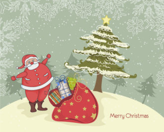 Vector Christmas Background With Santa Vector Illustrations star