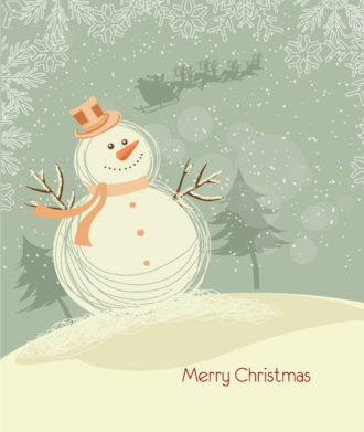 Vector Christmas Background With Snowman Vector Illustrations tree