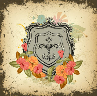 Shield With Floral Vector Illustration Vector Illustrations old