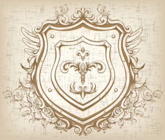 Vector Vintage Emblem With Shield Vector Illustrations old