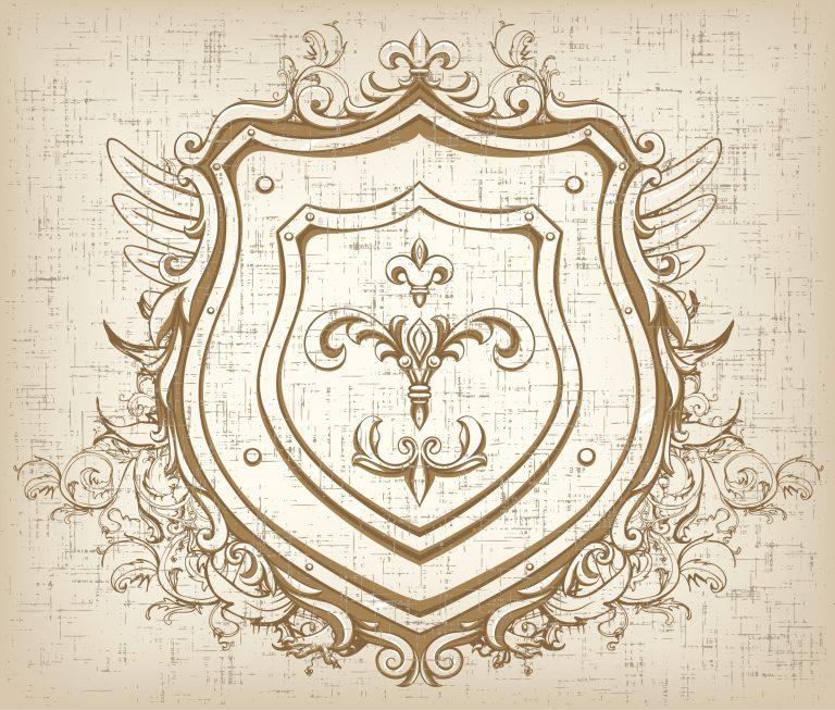 Vector Vintage Emblem With Shield Vector Illustrations old