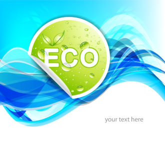 Vector Green Sticker With Blue Background Vector Illustrations wave