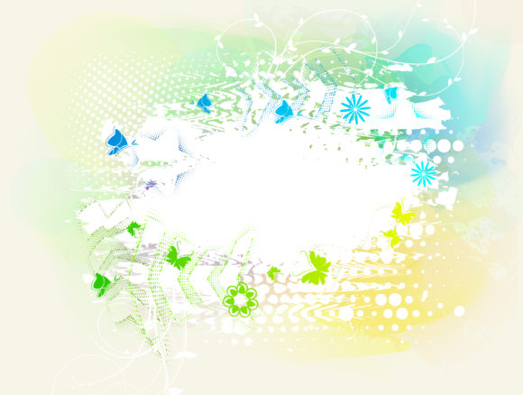 Butterflies With Grunge Vector Illustration Vector Illustrations star