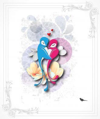 Love Birds Vector Illustration Vector Illustrations floral