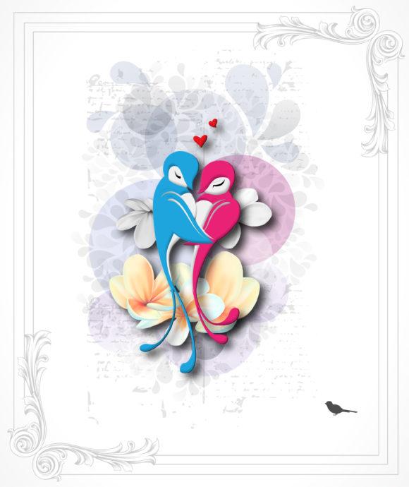 Illustration, Design-2, Love Eps Vector Love Birds Vector Illustration 5