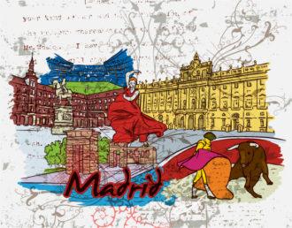 Madrid Doodles With Grunge Background Vector Illustration Vector Illustrations building