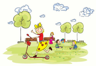 Kids Playing In The Park Vector Illustration Vector Illustrations tree