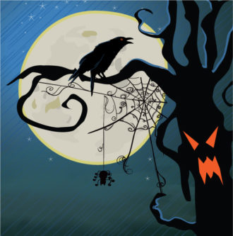 Halloween Background With Raven Vector Illustration Vector Illustrations tree