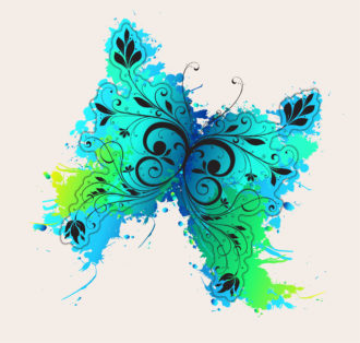 Vector Grunge Illustration With Butterfly Made Of Floral Vector Illustrations old
