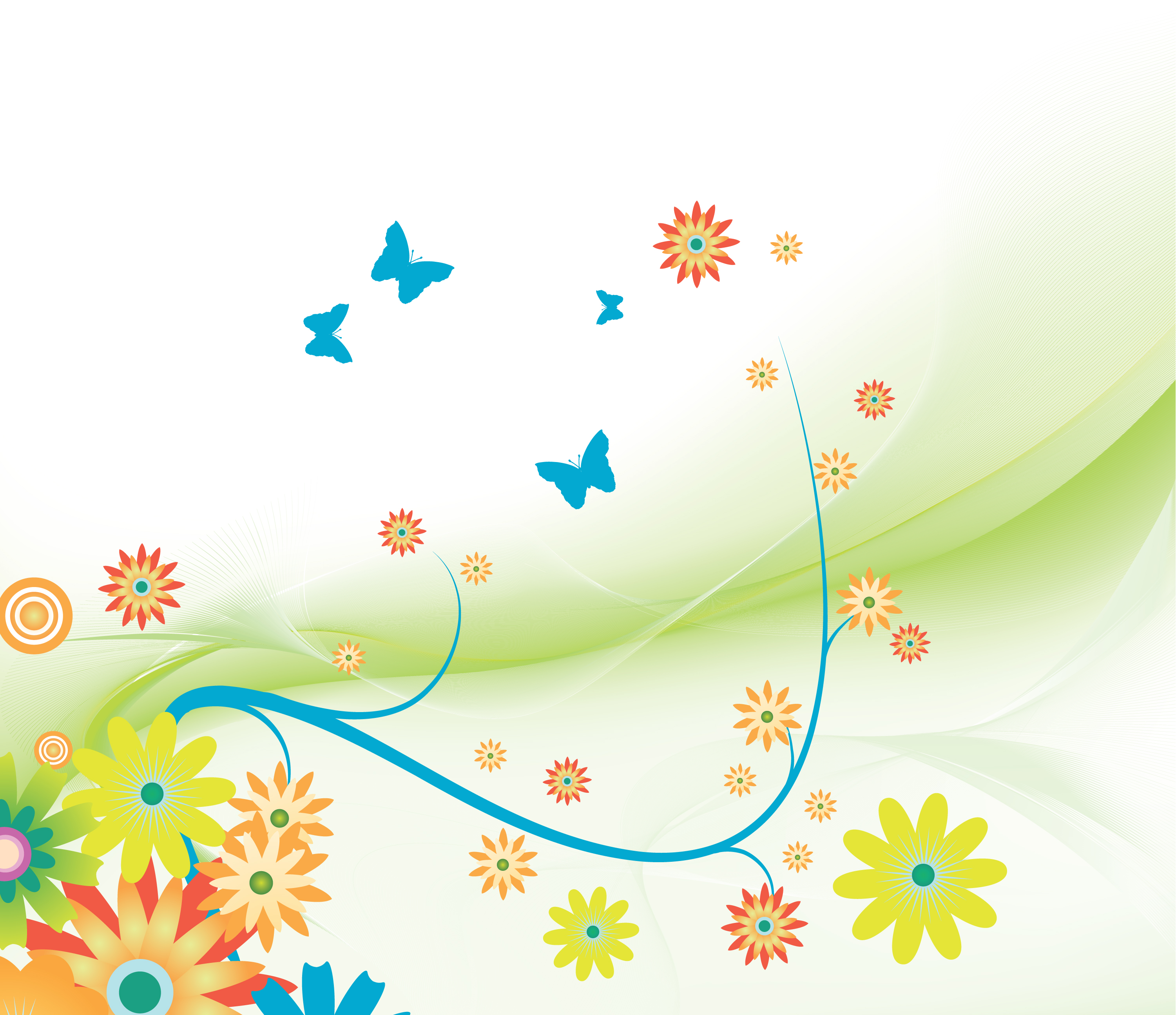 Vector Abstract Spring Floral Background Designious