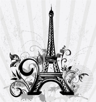 Vector Eiffel Tower With Floral And Grunge Vector Illustrations old