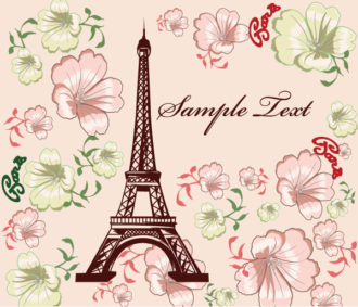 Vector Eiffel Tower With Floral Vector Illustrations floral