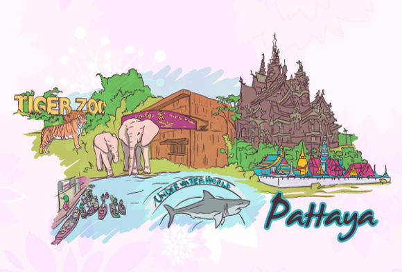 Astounding Doodles Vector Art: Pattaya Doodles Vector Art Illustration 5