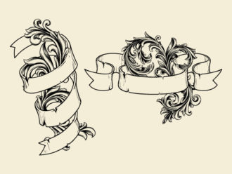 Vector Ribbons With Floral Vector Illustrations old
