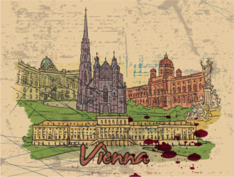Vienna Doodles Vector Illustration Vector Illustrations building