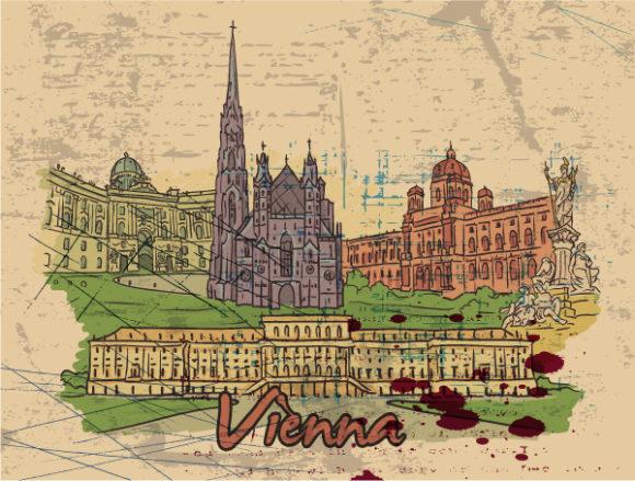 Exciting City Vector Design: Vienna Doodles Vector Design Illustration 5