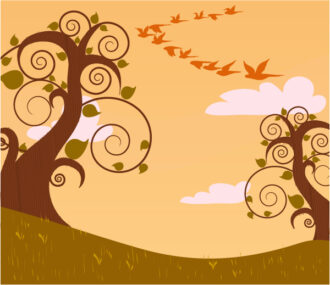 Vector Abstract Background With Trees Vector Illustrations tree
