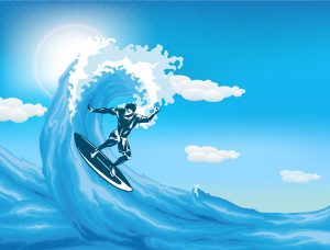 Vector Summer Background With Surfer Vector Illustrations sea