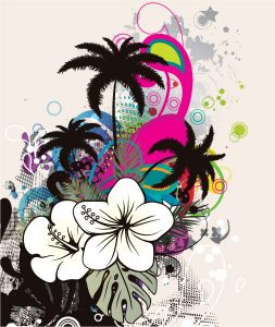 Summer Grunge Background Vector Illustration Vector Illustrations palm