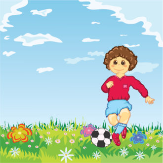 Vector Kid Playing Soccer Vector Illustrations ball