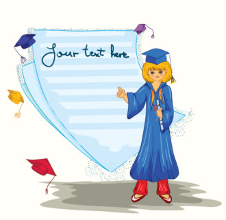 Vector Graduated Girl With Blank Page Vector Illustrations vector