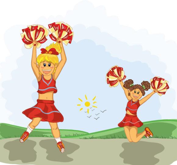 Vector Vector Graphic: Cheerleaders Vector Graphic Illustration 26 7 2011 19
