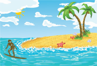 Vector Surfer Girl In Water Vector Illustrations palm