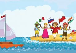 Kids Playing At The Beach Vector Illustration Vector Illustrations sea