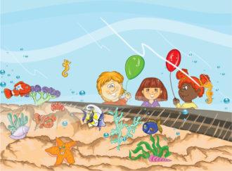 Kids At The Aquarium Vector Illustration Vector Illustrations summer