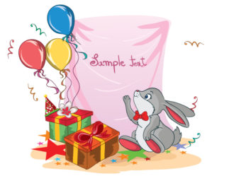 Kids Birthday Party With Rabbit Vector Illustration Vector Illustrations vector