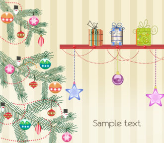 Vector Christmas Greeting Card With Tree Vector Illustrations tree