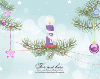 Vector Christmas Greeting Card With Candle Vector Illustrations vector