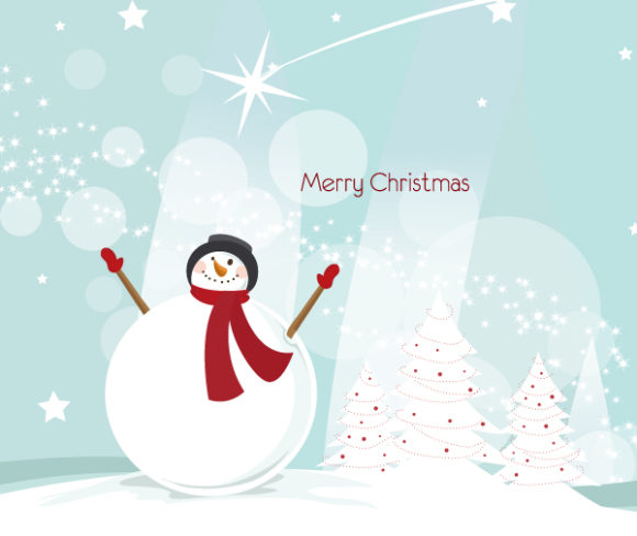 Vector Christmas Greeting Card With Snowman Vector Illustrations tree